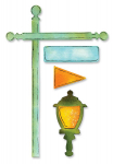 Decorative Strip Die - Flagpole with Lantern and Sign