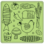 Cling Stamps - Kitchen Food