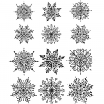 Cling Stamps Tim Holtz - Mini Swirley Snowflakes