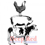Deep Red Cling Stamps - Farm Animal Stack