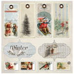 Designpapier 2-seitig - Winter Time Collection Tags 1